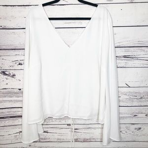 Forever 21+ bell sleeve blouse with corset back